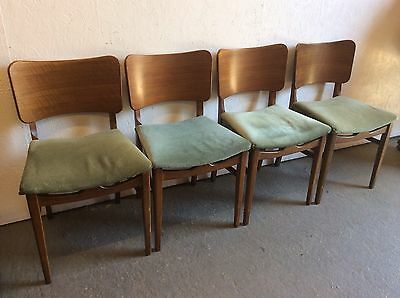 Set Of 4 Vintage Retro Beautility Dining Chairs 50's/ 60'S Beech Teak