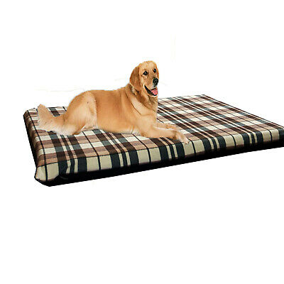 KosiPet® Large Deluxe Waterproof High Density Foam Pad Cream Check Dog Bed