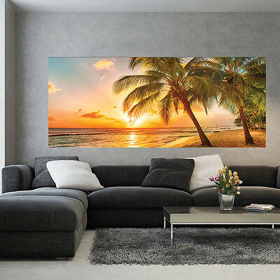 bild poster wandbild tapeten sonnenuntergang strand sonnen palmen 3fx3393p8 eur 39 90. Black Bedroom Furniture Sets. Home Design Ideas