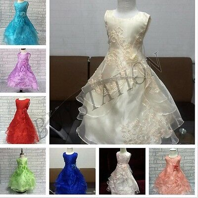 Flower Girl Dress Princess Kids Pageant Birthday Party Wedding  Long Gown