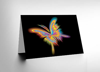Psychedelic Multi Coloured Butterfly Blank Greetings Birthday Card Cl370
