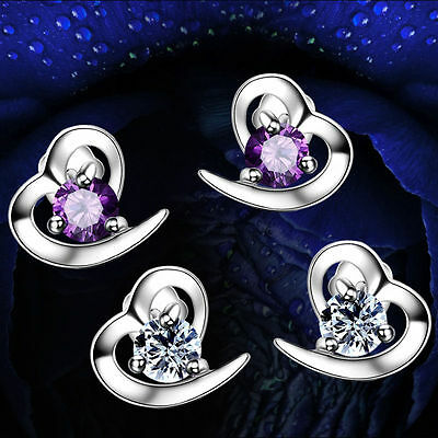 925 Sterling Silver Heart Stud Earrings Jewellery Womens Ladies Gifts New UK