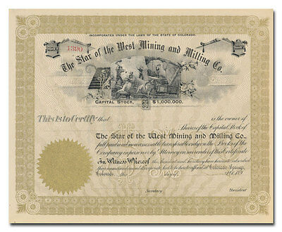 Star of the West Mining and Milling Co. Stock Certificate (Colorado)