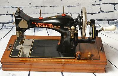 1930's British VICKERS Hand Crank Sewing Machine // Working - FREE P&P [PL2152]