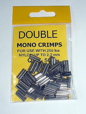 Double Mono Crimps upto 250lb Nylon 2.2mm - Sea, Game Fishing