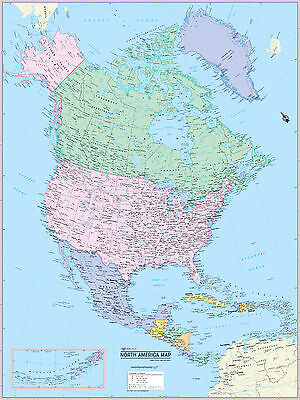 """Cool Owl Maps North America Continent Wall Map Poster - Laminated 24""""x32"""""""