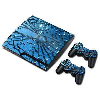 Shattered Glass Skin Sticker Cover For PS3 Slim Playstation 3 Console Decal