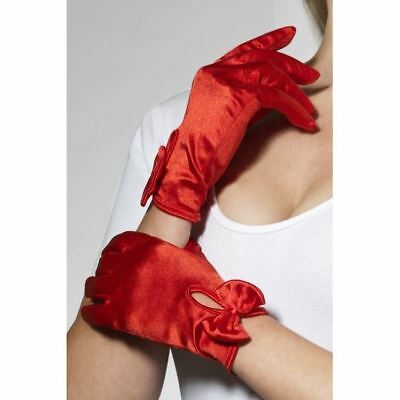 Gloves, Short, Red, with Bow by Smiffys 43173