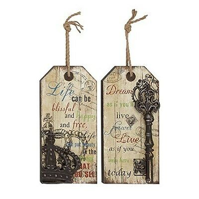 """Deco 79 Wood Metal Wall Decor (Set Of 2) 10 By 20"""" New"""