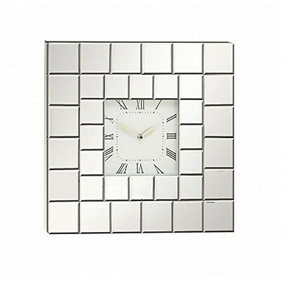 Deco 79 Wood Mirror Wall Clock 20 By 20-Inch Silver New