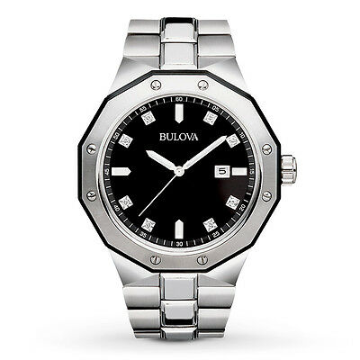 Bulova Men's Marine Star Diamond Accents Black Dial Bracelet 45mm Watch 98D103