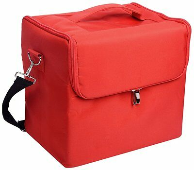 Glow Professional Fabric Finish Make Up Beauty Cosmetic Case Red