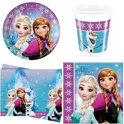 DISNEY FROZEN Party Set  for 16  (Cups Plates Napkins Tablecover)