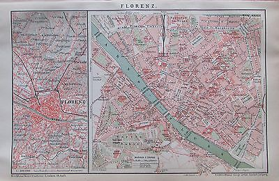 FLORENZ FIRENZE 1893 original Stadtplan antique city map Lithographie Italien