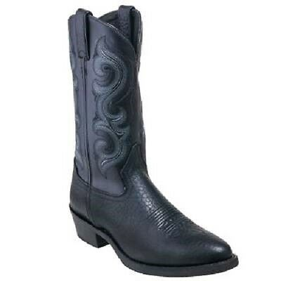 """Men's Double H 12"""" Round Toe Work Western Mustang Black DH4418"""