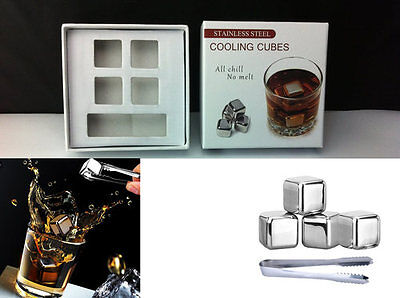 Surprise Gift For Him Stainless Steel Whiskey Rock Stones Ice Cube Drink Chiller