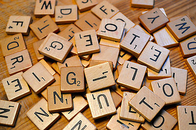 100 Wooden Scrabble Tiles Black Letters Numbers For Crafts Wood Alphabets