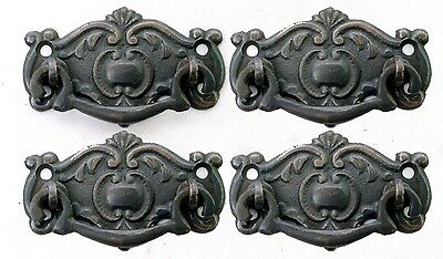 Set of 4 Surface Mount Victorian Style Brass Bail Handles Delicate Finger Pulls