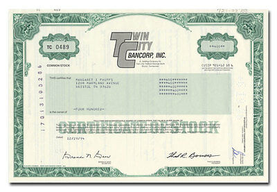 Twin City Bancorp, Inc. Stock Certificate (Tennessee)