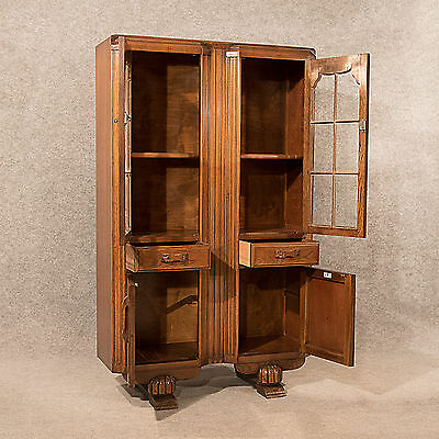 Art Deco Bookcase Display Cabinet Cupboard Oak English Made Top Quality c1940