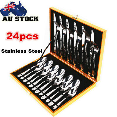Deluxe 24x Stainless Steel Cutlery Family Dinner Set Fork Knife Spoon Tea Cafe