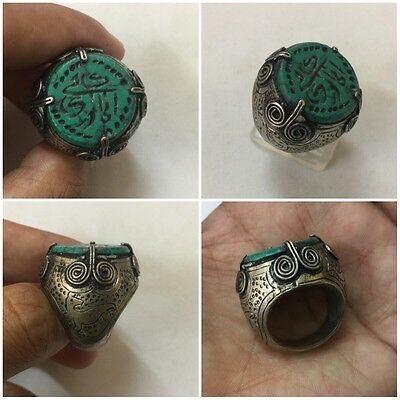 Men Islamic Ring MALACHITE Stone Vintage Afghan Seal QURAN Engraved Intaglio 6.5