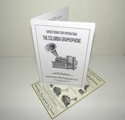 Columbia Graphophone Cylinder Phonograph Instruction Manual  + Advertisement