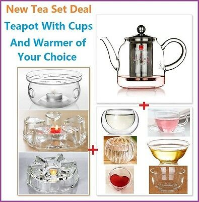 8 Piece Glass Tea Set 500ml Teapot With Stainless Steel Infuser+1 Warmer+6 Cups