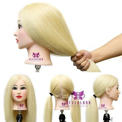"""23"""" Hairdressing Training Head Practice Mannequin Golden Long Hair + Free Clamp"""