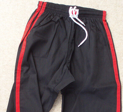 CONTACT TROUSERS - Black + Red Stripe - for Martial Arts & Kickboxing etc