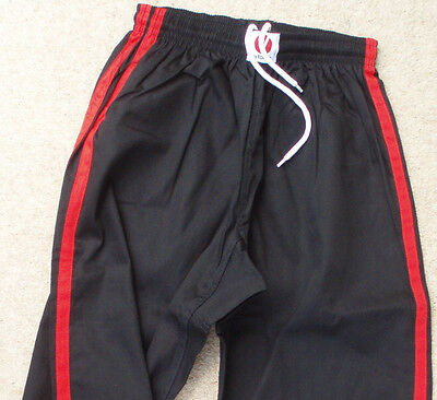 KICKBOXING TROUSERS - Black with Red Stripe - Super Quality - Great price