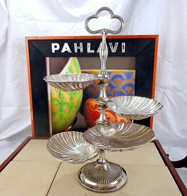 Vintage Silver Plate Silverplated Shell Centerpiece Nut Bowl Bonbon Dish Stand