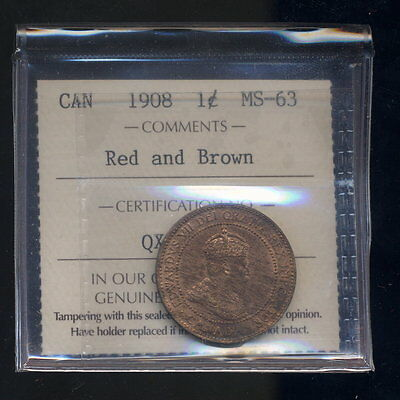 1908 Canada One Large Cent 1c - Red and Brown - ICCS MS63