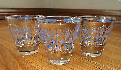 Ornate Gold With Blue Tiny Crosses Vintage Deco 3Pc. Glass Set Barware