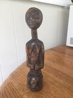 African D R Congo Old Tribal Bakongo Female Wood Statue Over 100 years old