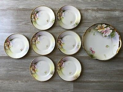 Antique Nippon Hand Painted Cake Plate And 7 Dessert Plates Floral 8 pcs