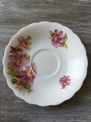 Antique Crownford Fine Bone China England Saucer Only Pink Wildflowers Daisies