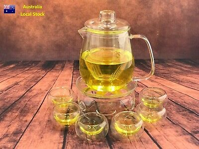 8 Piece Glass Tea Set 650ml Penguin Style Teapot With Infuser + 1 Warmer +6 Cups