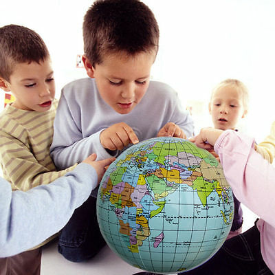 Inflatable Earth Globe Learning World Map Teach Geography Kids Toy Atlas Planet