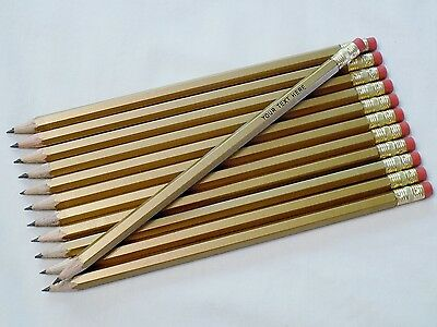 """144 Hexagon """"Gold"""" (Pre-Sharpened) Personalized Pencils"""