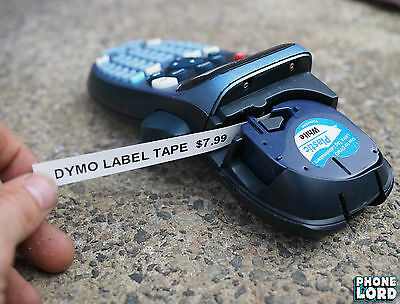 Black on White Plastic label 12mm x 4m tape for Dymo LetraTag label maker 1 PACK