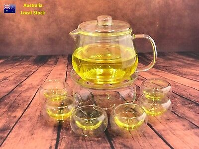 8 Piece Glass Tea Set 600ml Penguin Style Teapot With Infuser + 1 Warmer +6 Cups