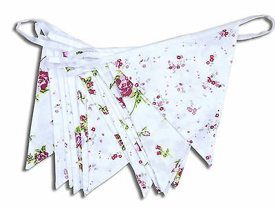 Cotton Bunting 5m Floral Vintage Shabby Chic Celebrations Party Wedding Events