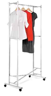 Deluxe Collapsible Rolling Garment Rack Clothes Hanging Folding Organinzer