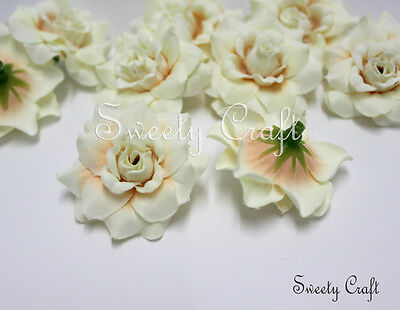 """12 Ivory color Roses Artificial Silk Flower Heads 1.75"""" for Wedding, Partie"""