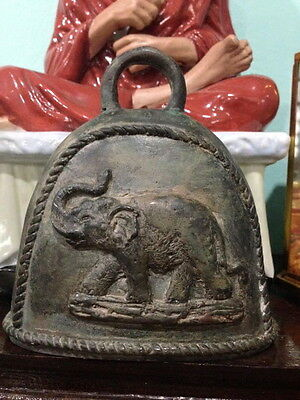 Thai Bell Clapper Antique Style Chime Temple Buddha Sound Frame Elephant Decor