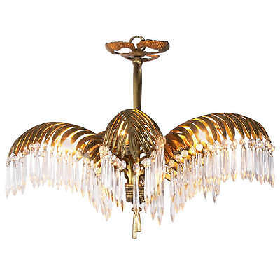 Antique Vintage Bronze Brass Palm Frond Crystal Chandelier Waterfall Lamp