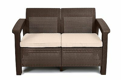 Keter Corfu Love Seat All Weather Outdoor Patio Garden Furniture, Brown (214770)