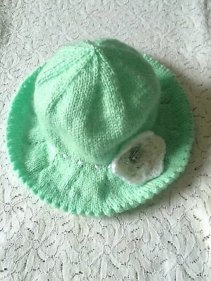 Baby Sunhat - Knitted With Crochet Flower Detail