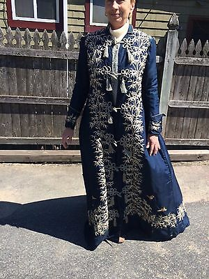 Antique Japanese embroidered long coat quilted silk lining